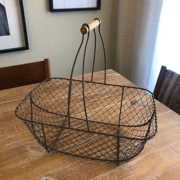 Vintage Farmhouse Wire Basket with Wood Handle